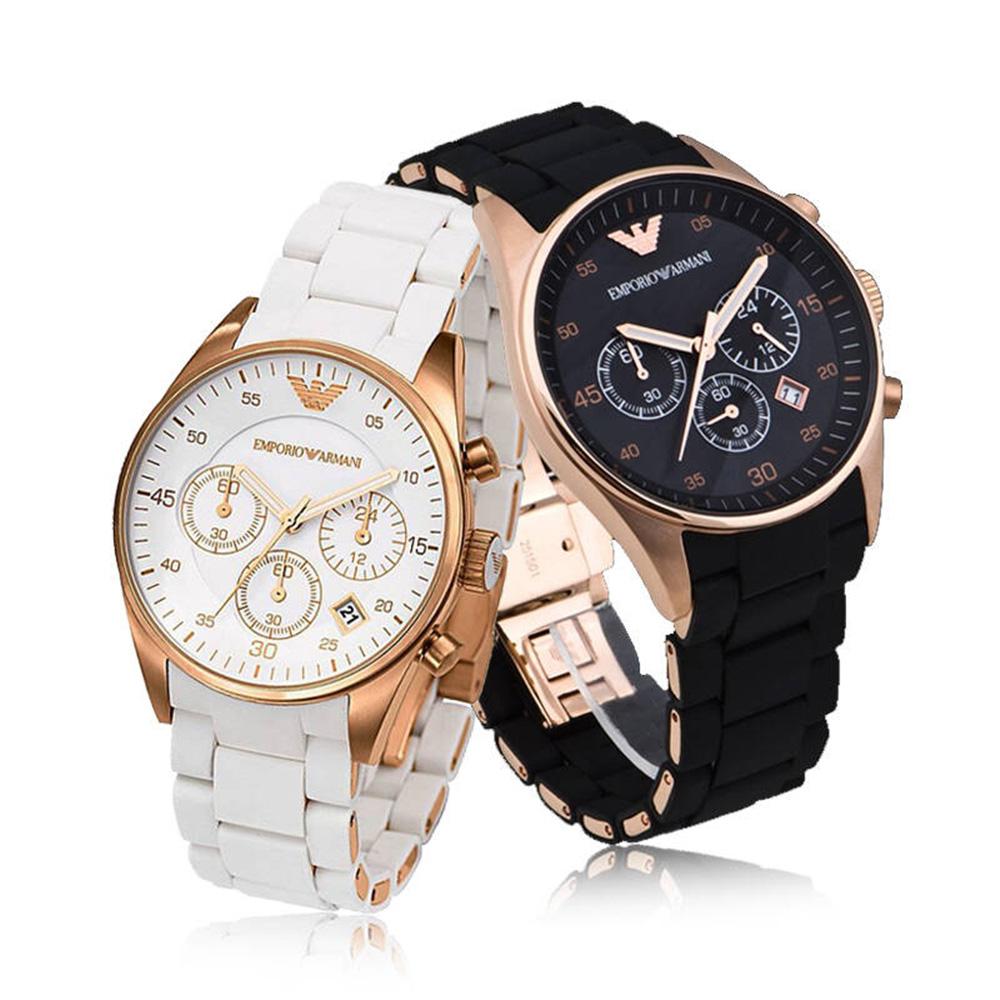 (預購)【EMPORIO ARMANI】時尚橡膠包覆精鋼情人對錶(AR5905/AR5920)玫瑰金