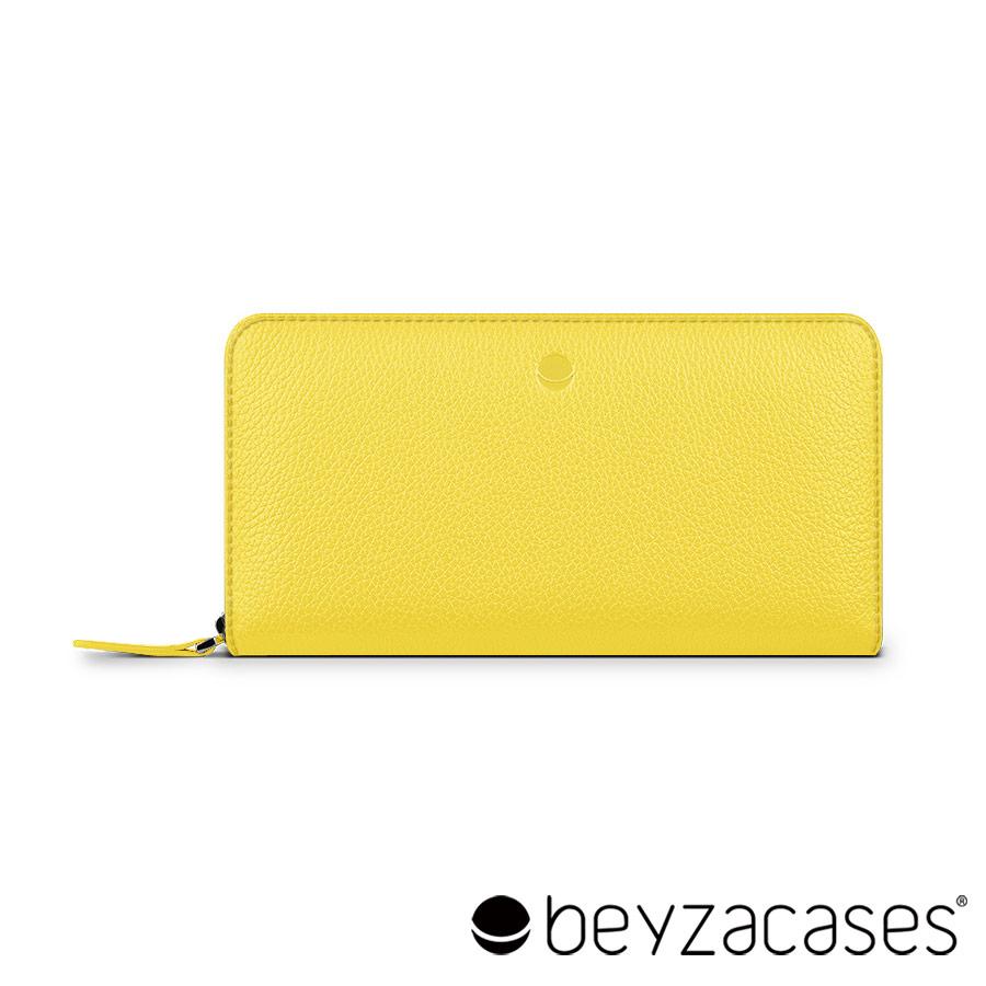 Beyzacases Frances Wallet 真皮拉鍊手機雙用長夾  青檸黃 可放置