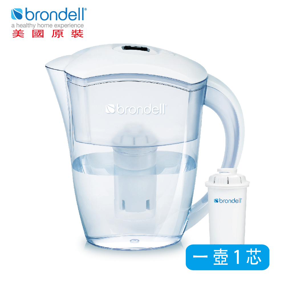 【美國Brondell】H2O+ 長效濾水壺(2色可選)白色