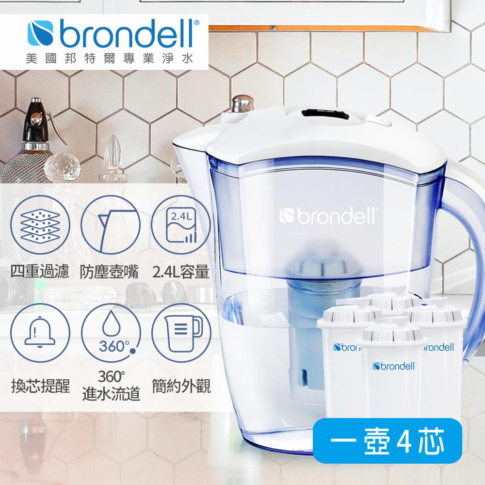 【美國Brondell】H2O+ 長效濾水壺+長效濾芯4入(2色可選)白色