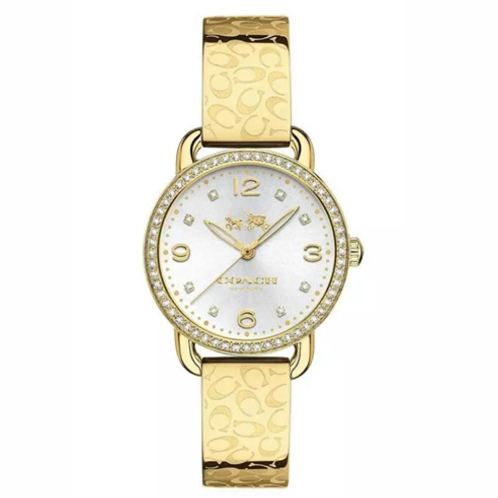 【COACH】金色 晶鑽數字鋼帶女錶 14502354
