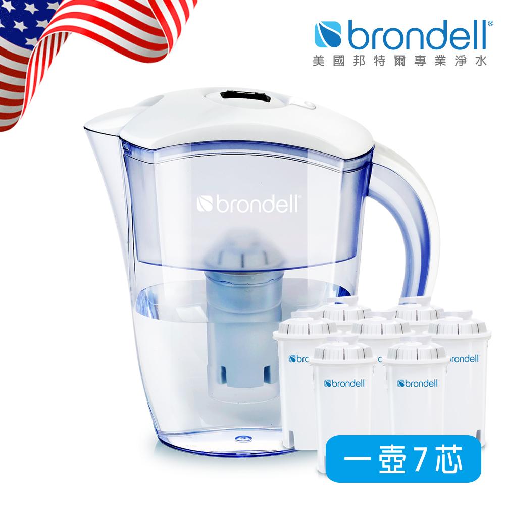 【美國Brondell】H2O+ 長效濾水壺+長效濾芯7入(2色可選)白色