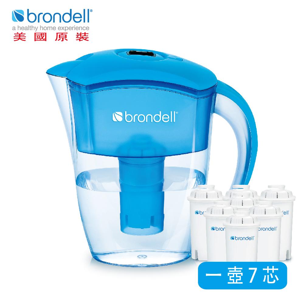 【美國Brondell】H2O+ 長效濾水壺+長效濾芯7入(2色可選)藍色