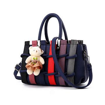 【L.Elegant】 韓版編織甜美肩背斜跨手提造型包 (共二色)藍色