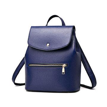 【L.Elegant】精緻光澤時尚單肩斜跨後背包 (共三色) 藍色