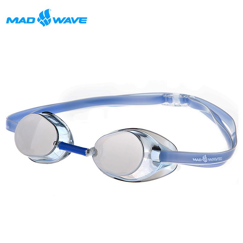 ~邁俄威~俄羅斯MADWAVE成人競技型電鍍泳鏡RACER SW MIRROR 送耳塞 藍