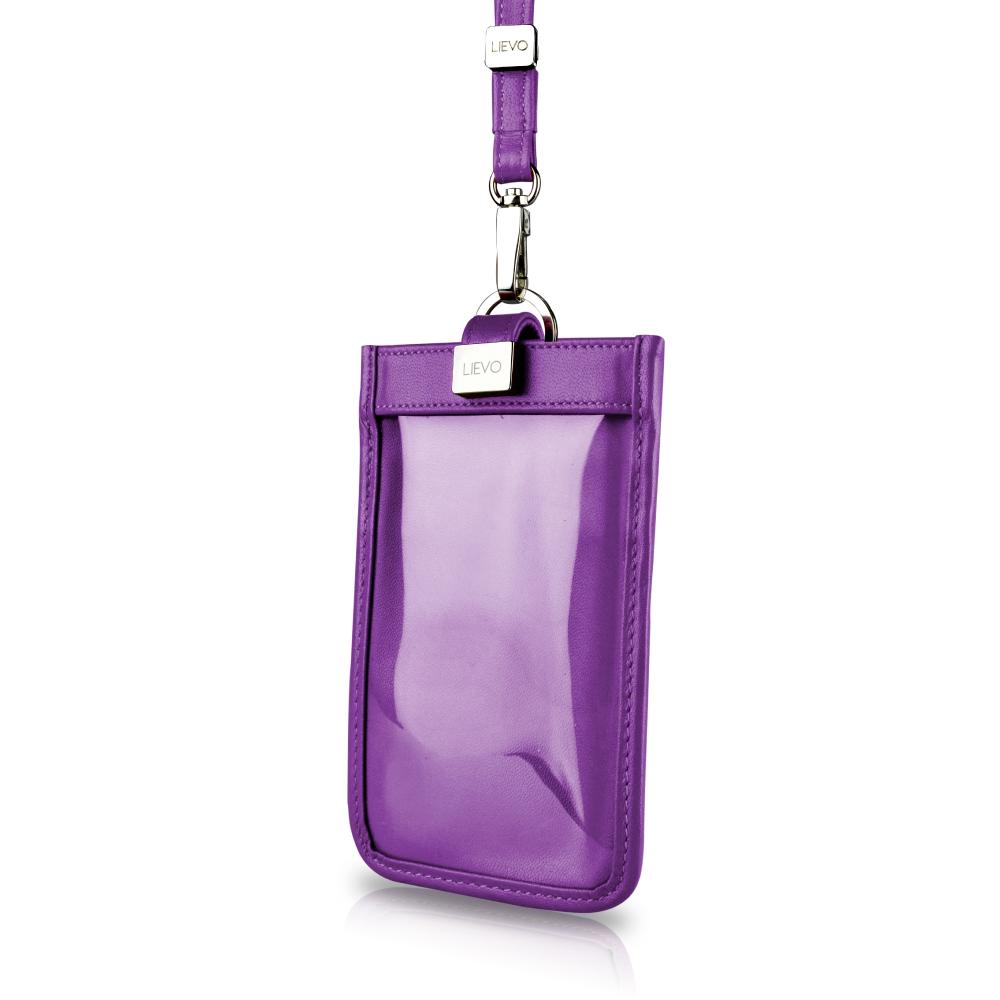【LIEVO】 TOUCH - 頸掛式真皮手機套_深紫紅 iPhone 7 plus   Note 5   5.7 吋螢幕 手機皆