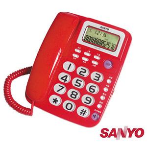 三洋 SANYO 來電超大鈴聲 免持撥號 顯示型 有線電話 TEL-991 三色可選紅色