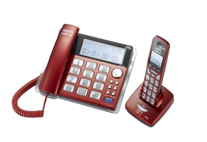 三洋 SANYO 數位長距離/大字鍵 無線子母機 DCT-8909 (三色)紅色