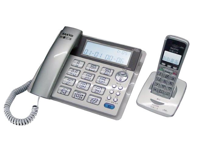 三洋 SANYO 數位長距離/大字鍵 無線子母機 DCT-8909 (三色)白色