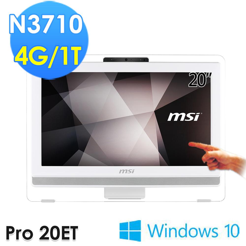 msi微星 Pro 20ET 4BW-052TW 20吋 N3700 WIN10 觸控液晶電腦