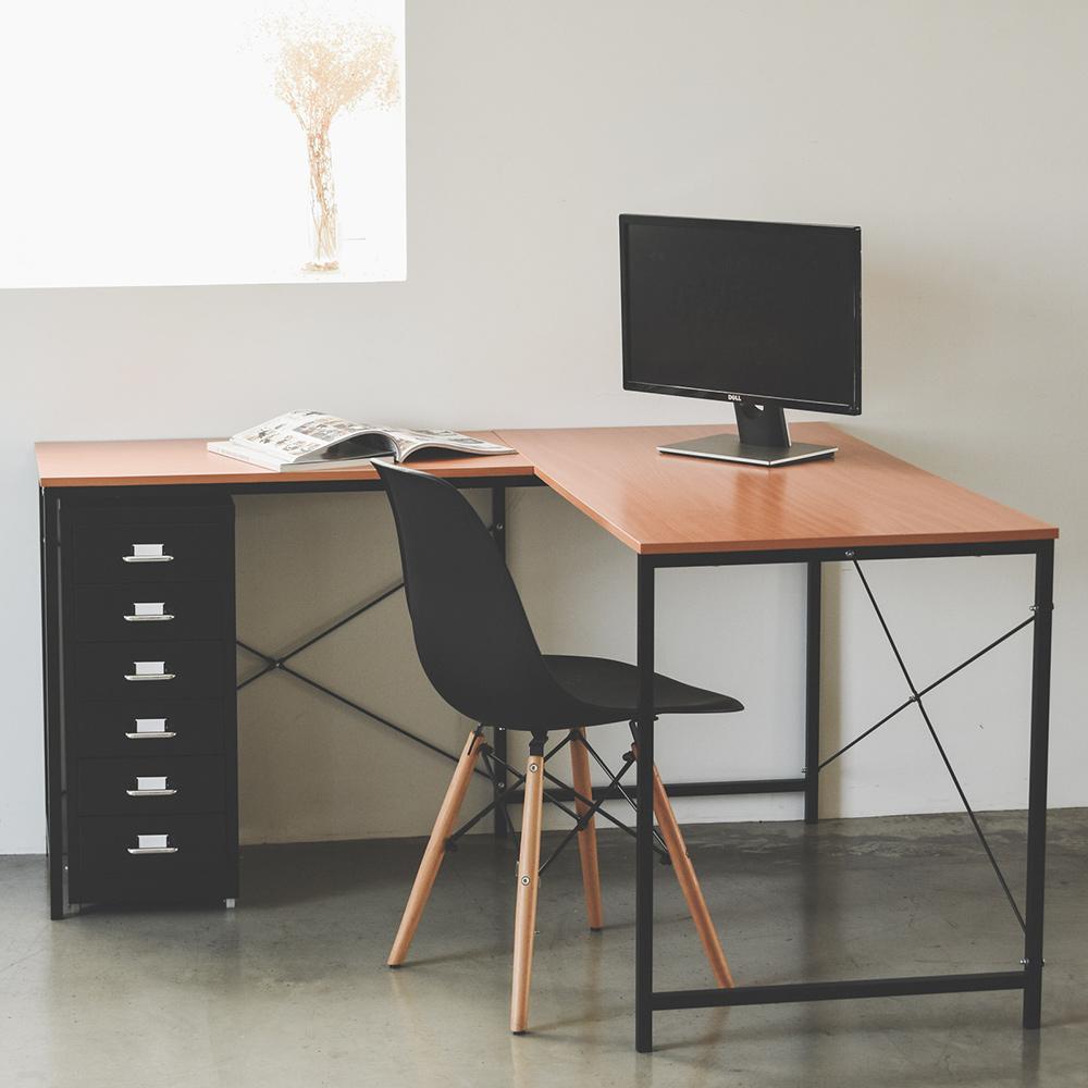 Peachy Life L型工作桌櫃組/活動櫃/公文櫃/檔案櫃/電腦桌(2色可選)黑色