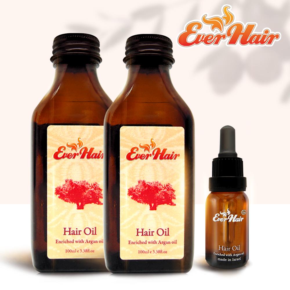 【Ever Hair】頂級100%摩洛哥堅果修護油3件組(100mlx2+15mlx1)