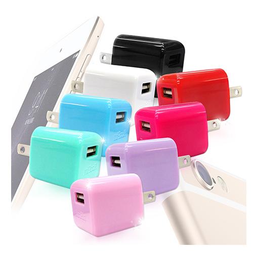 KooPin 迷你甜心糖 萬用USB旅充頭 5V/1A-台灣安規認證亮桃