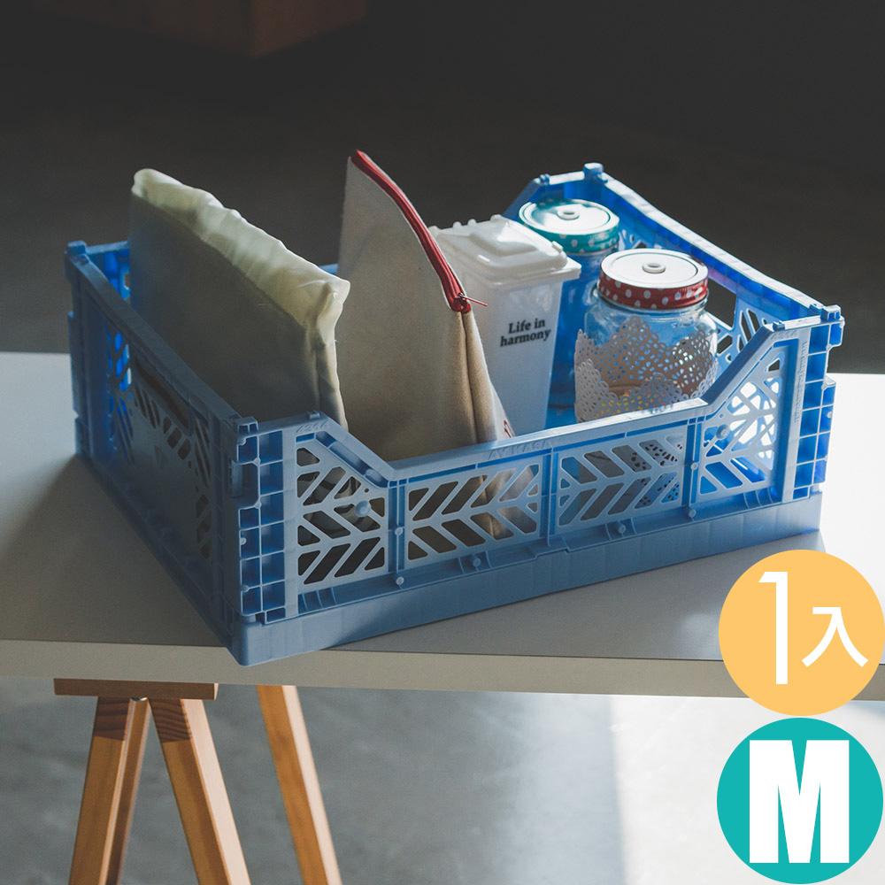 Peachy Life Aykasa堆疊式收納籃/抽屜/整理箱-M(12色可選)淺藍色