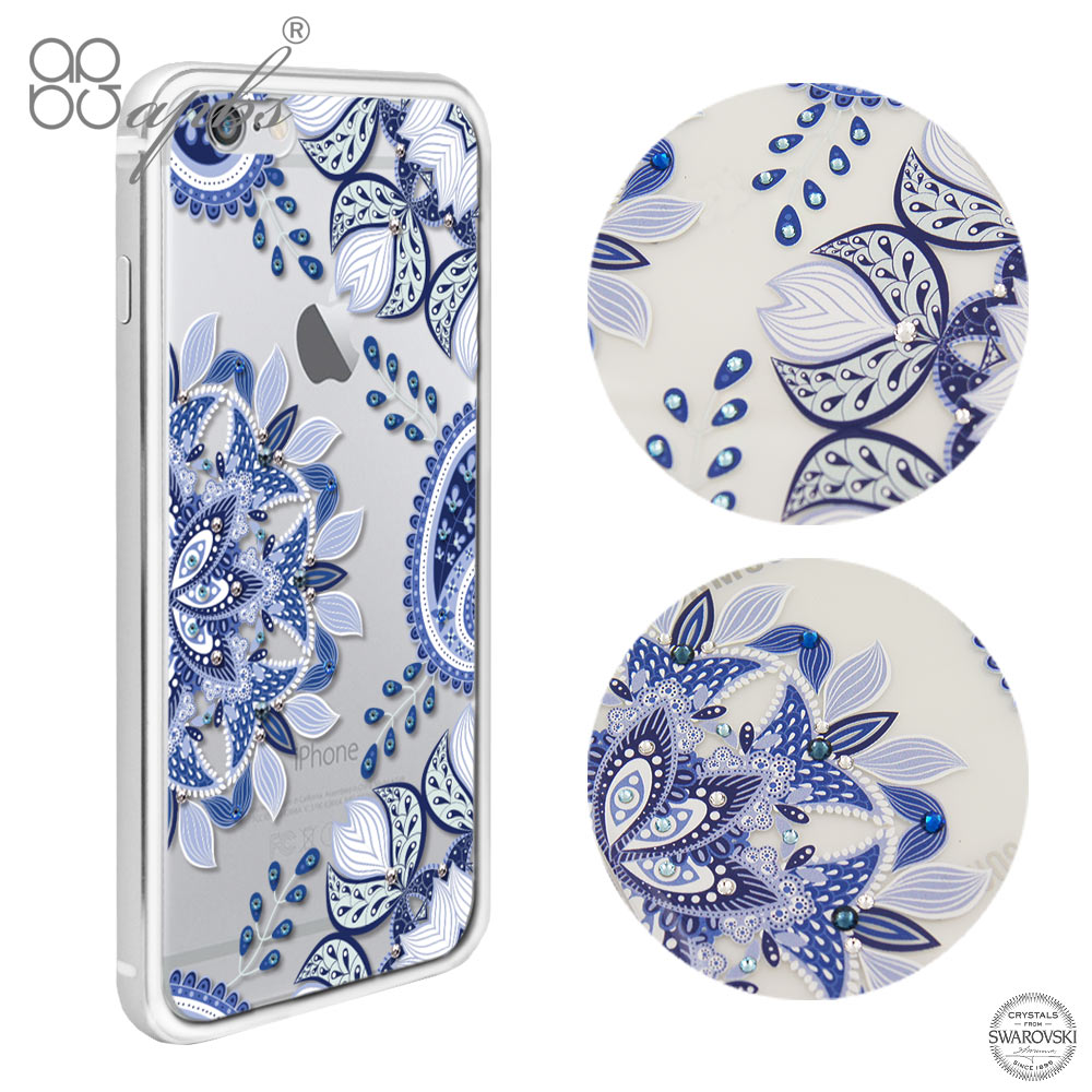 apbs iPhone6s /6 4.7吋 施華洛世奇彩鑽鋁合金屬框手機殼-銀色青花瓷