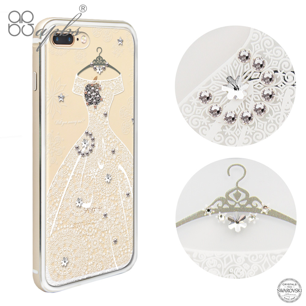 apbs iPhone7 PLUS 5.5吋 施華洛世奇彩鑽鋁合金屬框手機殼-金色禮服(奢華版)