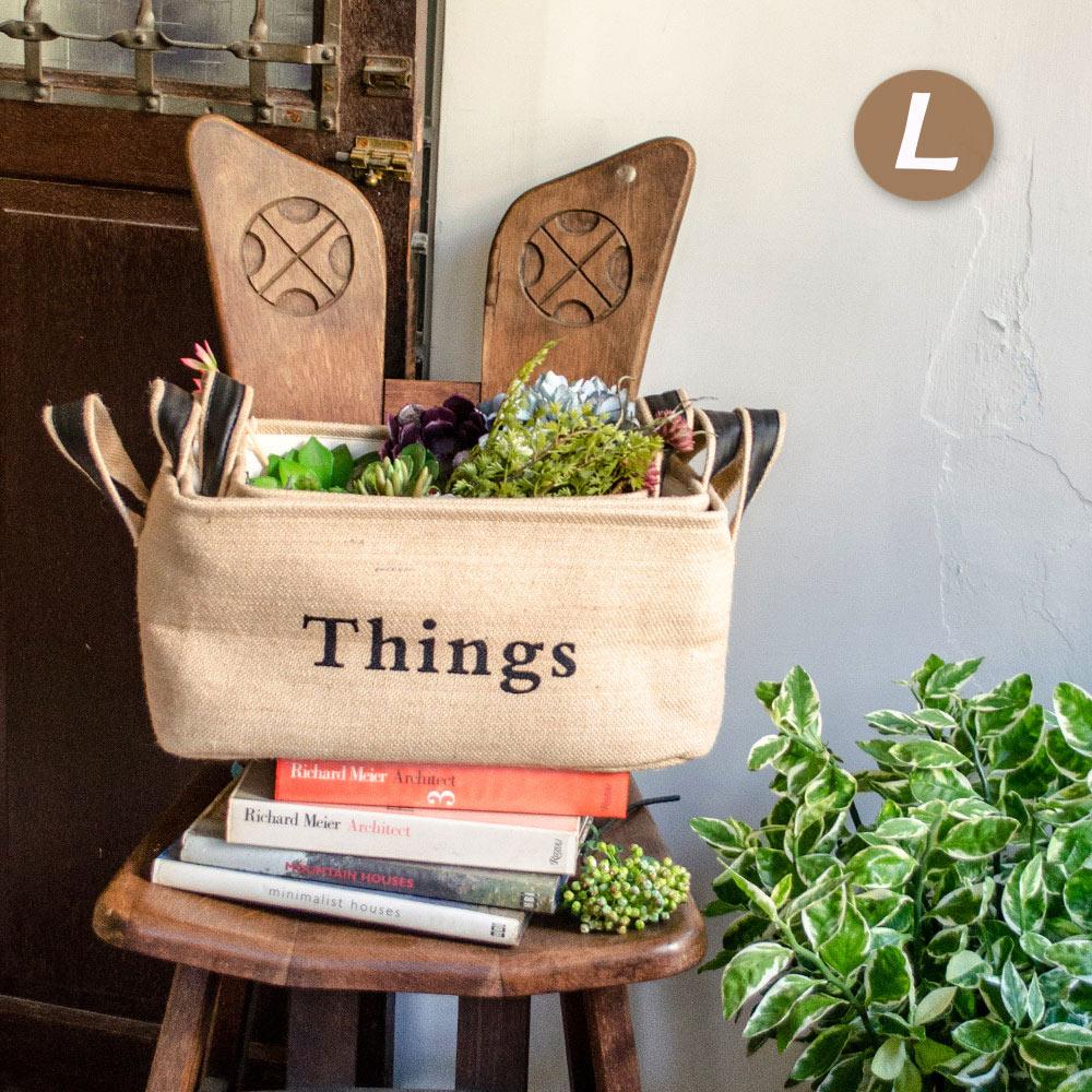 【收納職人】自然系清新英文(Things)厚挺黃麻提把收納籃/無蓋儲物盒 (黃麻方籃L)