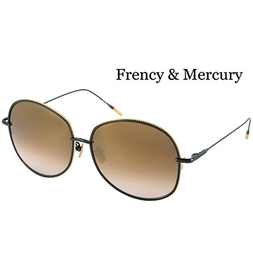 【Frency&Mercury 太陽眼鏡】Vanilla ABG-M 日本手工純鈦鏡框(黑框X金邊/水銀漸層棕鏡面)