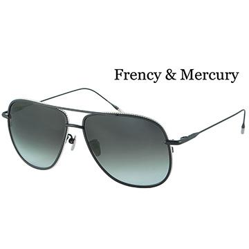 【Frency&Mercury 太陽眼鏡】Magnificent MBS_ 純鈦日本手工鏡框(黑框X銀邊/漸層灰綠鏡面)