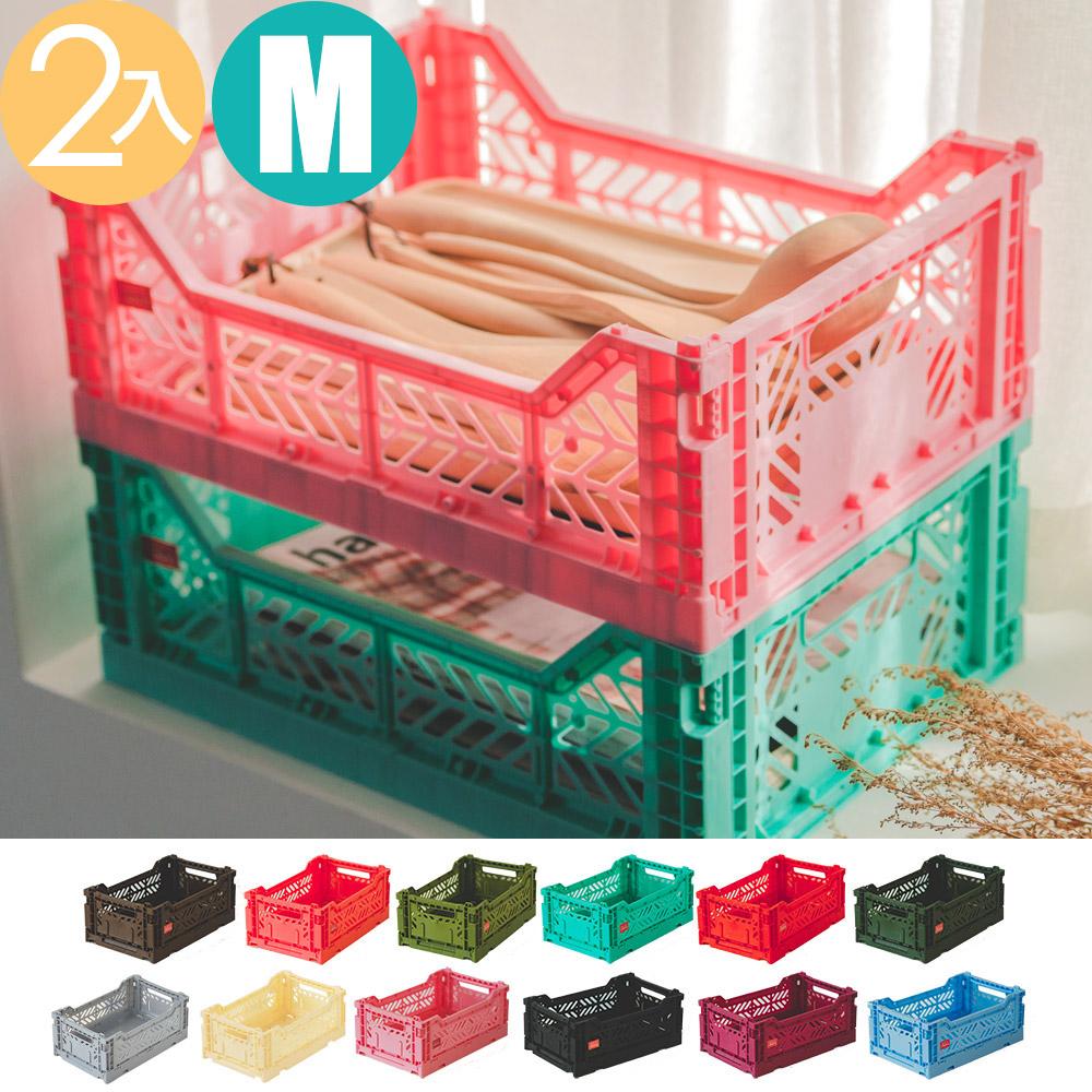 Peachy Life Aykasa堆疊式收納籃/抽屜/整理箱-M(2入組)(12色可選)香草色