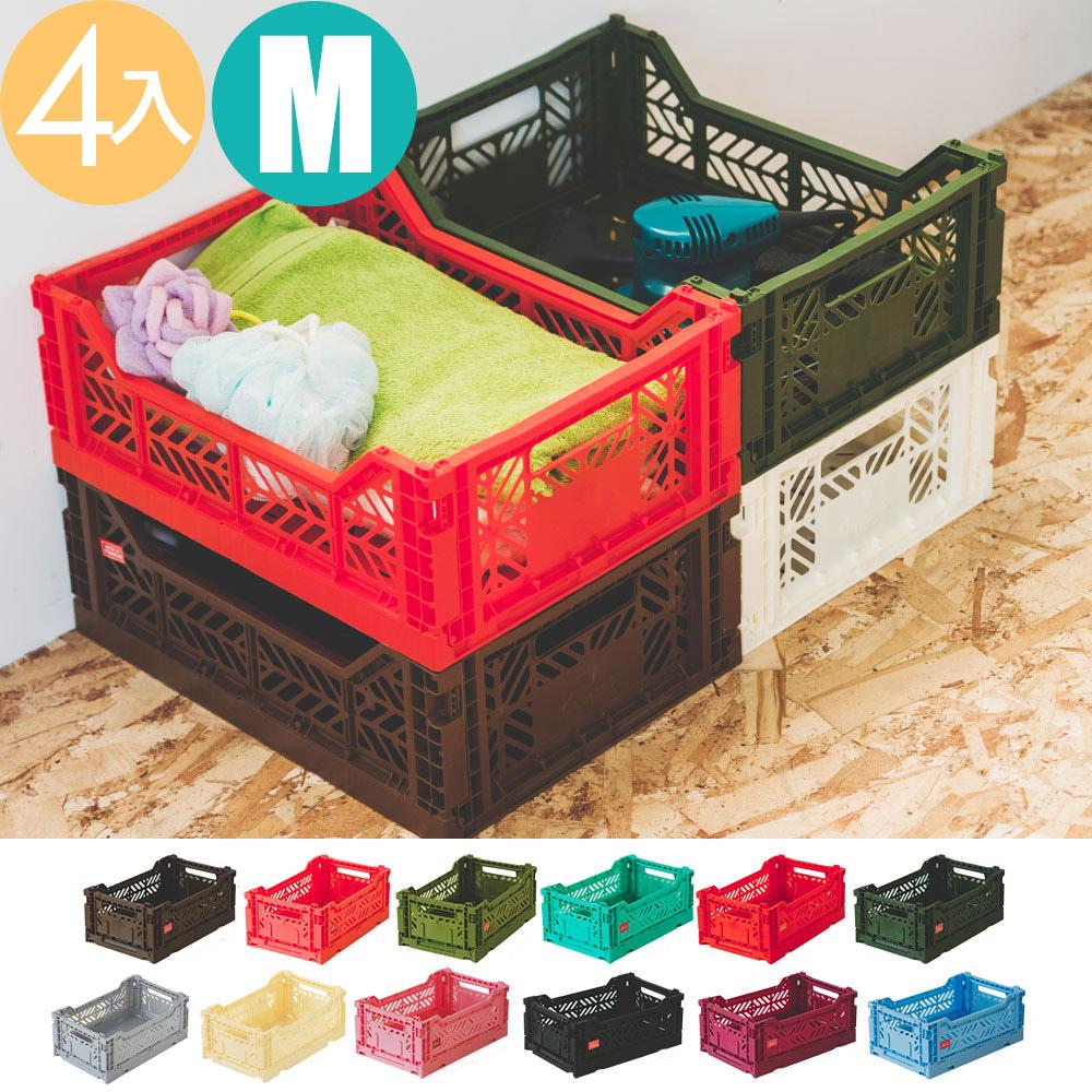 Peachy Life Aykasa堆疊式收納籃/抽屜/整理箱-M(4入組)(12色可選)軍綠色