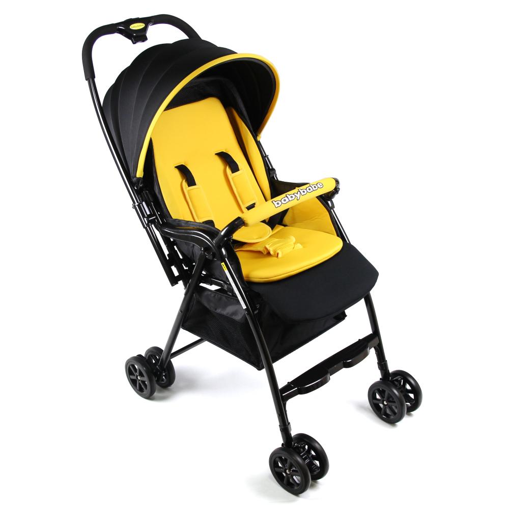 Babybabe 新款加款超輕量雙向秒收車-亮眼黃