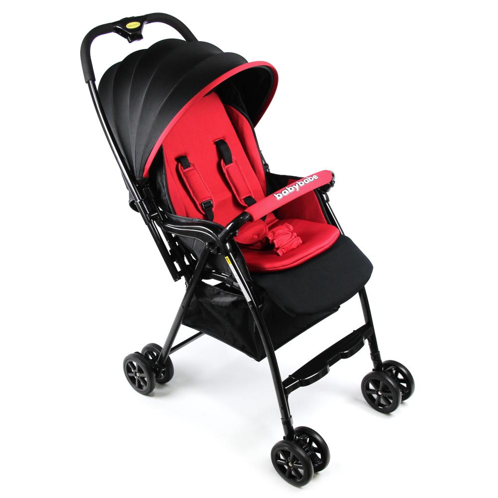Babybabe 新款加款超輕量雙向秒收車-酷炫紅