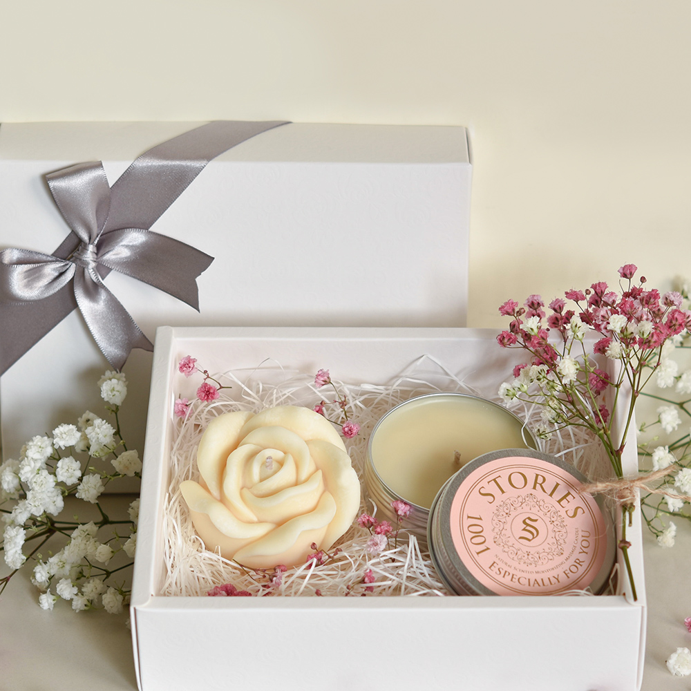 【Stories故事香氛】戀人絮語香氛禮盒No.1001--玫瑰造型香氛蠟燭+按摩精油蠟燭旅行盒