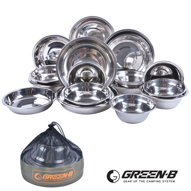 【GREEN-B】戶外野營不鏽鋼餐碗盤20件組(附收納包)