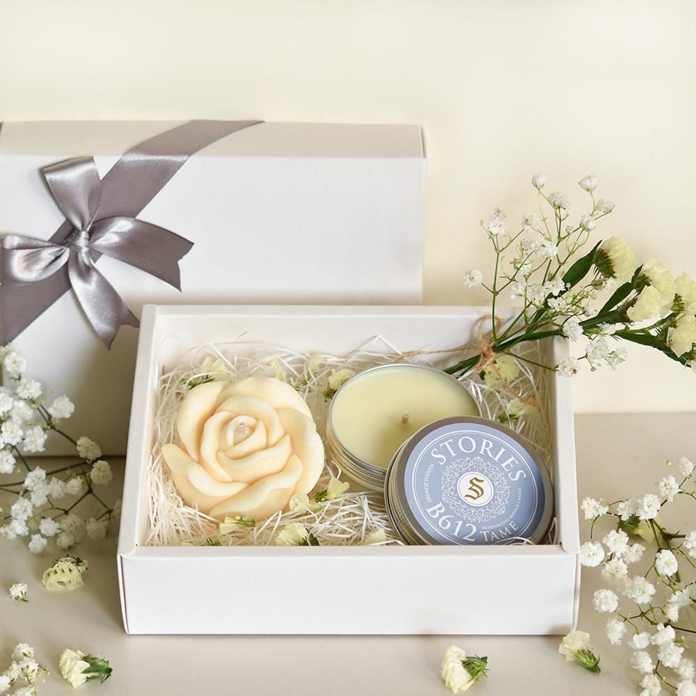 【Stories故事香氛】戀人絮語香氛禮盒No.B612--玫瑰造型香氛蠟燭+按摩精油蠟燭旅行盒