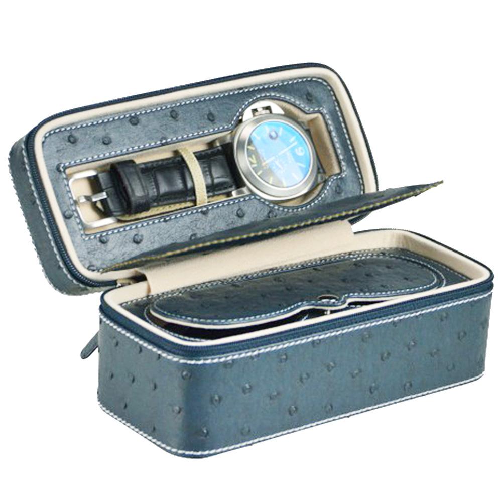 【收藏專家】精緻典藏鴕鳥紋收藏盒-2支(淺藍 / LT701-OS-LBL)
