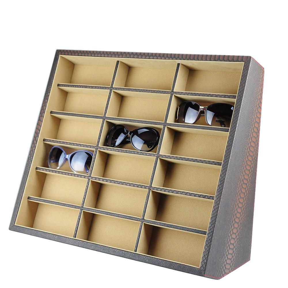 【收藏專家】率性蛇紋眼鏡收藏盒-18支(米X棕 / 18GL-PU-Br)