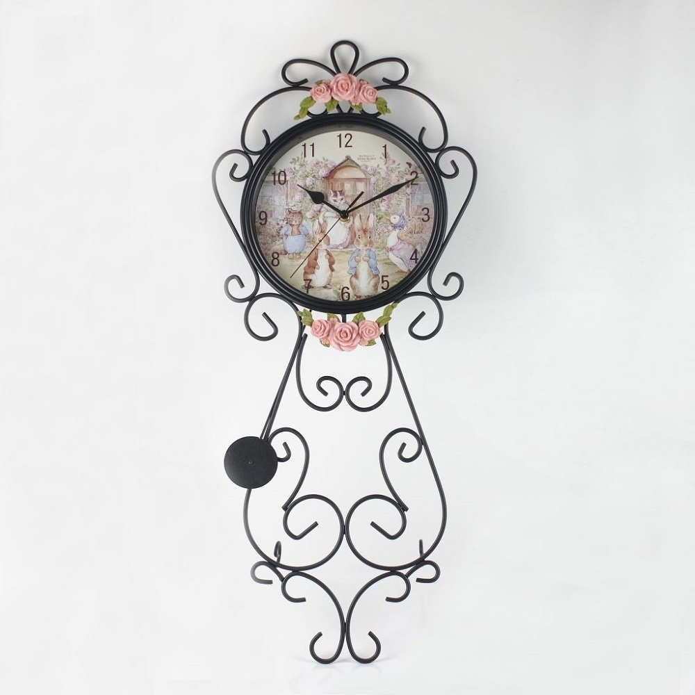 【U】Peter Rabbit 比得兔 - 比得兔玫瑰鍛鐵壁掛鐘