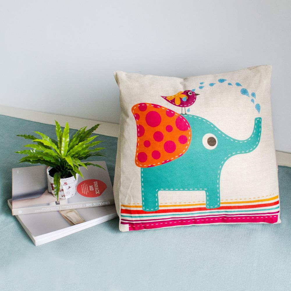 【收納職人】Zakka日系雜貨風手感棉麻織紋舒壓三角抱枕/靠枕/腿枕(可愛大象)