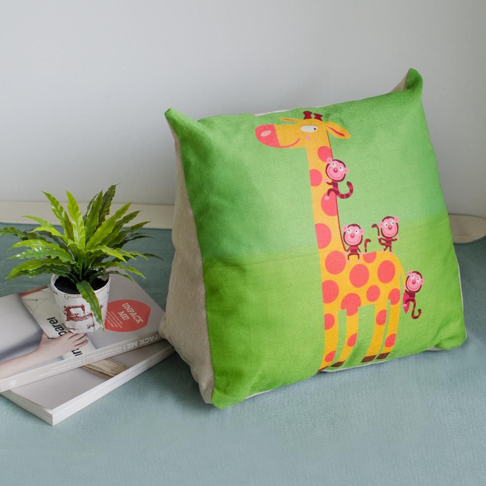 【收納職人】Zakka日系雜貨風手感棉麻織紋舒壓三角抱枕/靠枕/腿枕(長頸鹿)