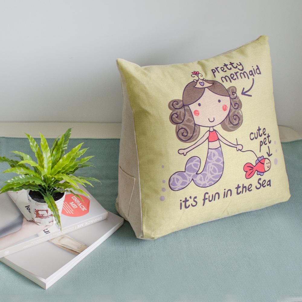 【收納職人】Zakka日系雜貨風手感棉麻織紋舒壓三角抱枕/靠枕/腿枕(小美人魚)
