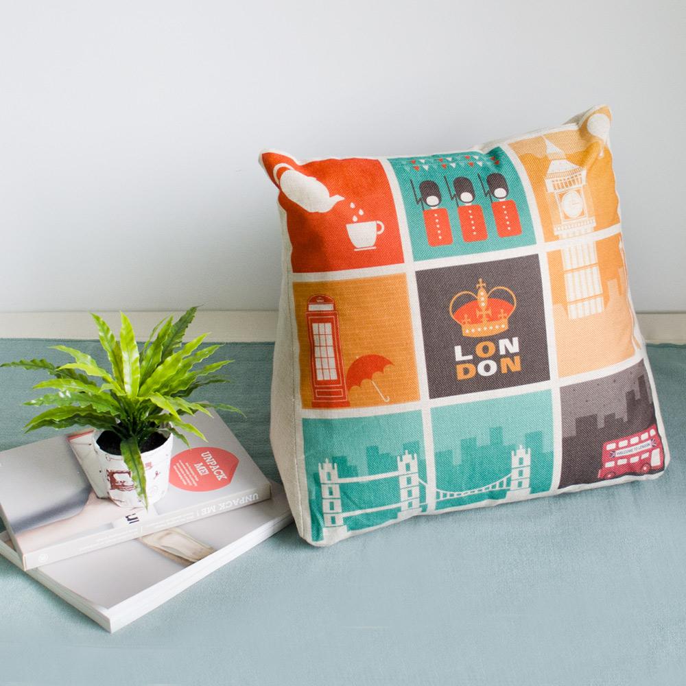 【收納職人】Zakka日系雜貨風手感棉麻織紋舒壓三角抱枕/靠枕/腿枕(拼貼倫敦)