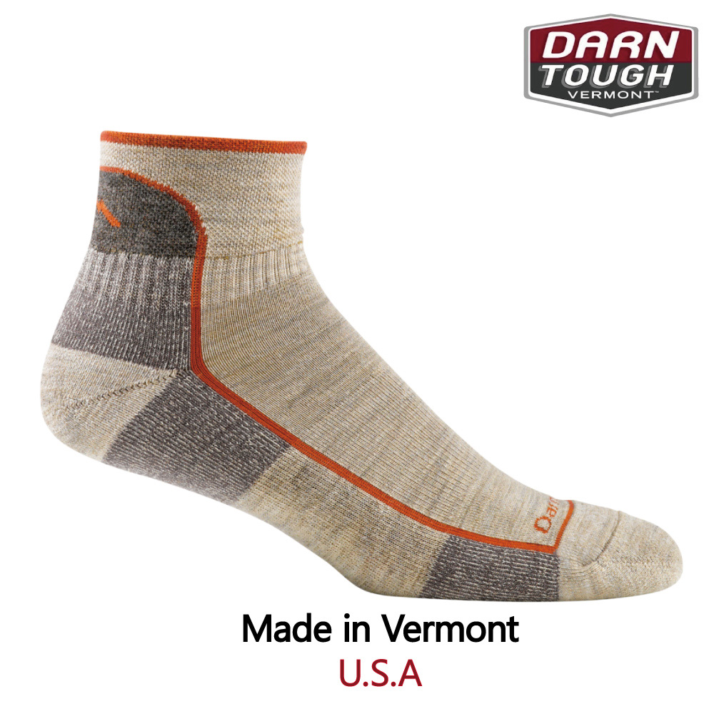【美國DARN TOUGH】Hiker 1/4 Sock Cushion 徒步.健行系列襪-L麥色-2入