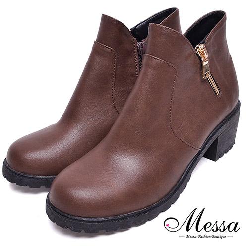 【Messa米莎專櫃女鞋】MIT簡約百搭金屬拉鍊造型方跟踝靴37咖啡色