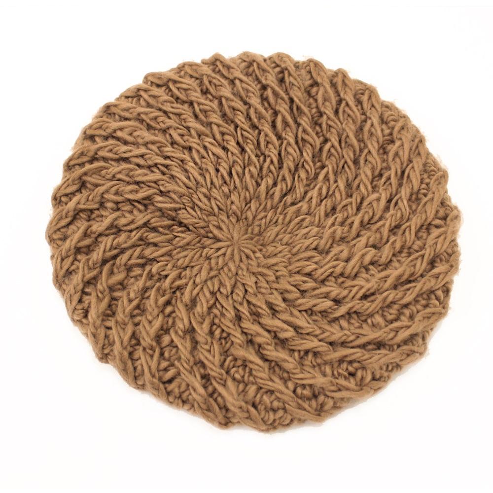【U】AURORA - <日本進口>純色編織貝蕾帽(三色可選) - 卡其