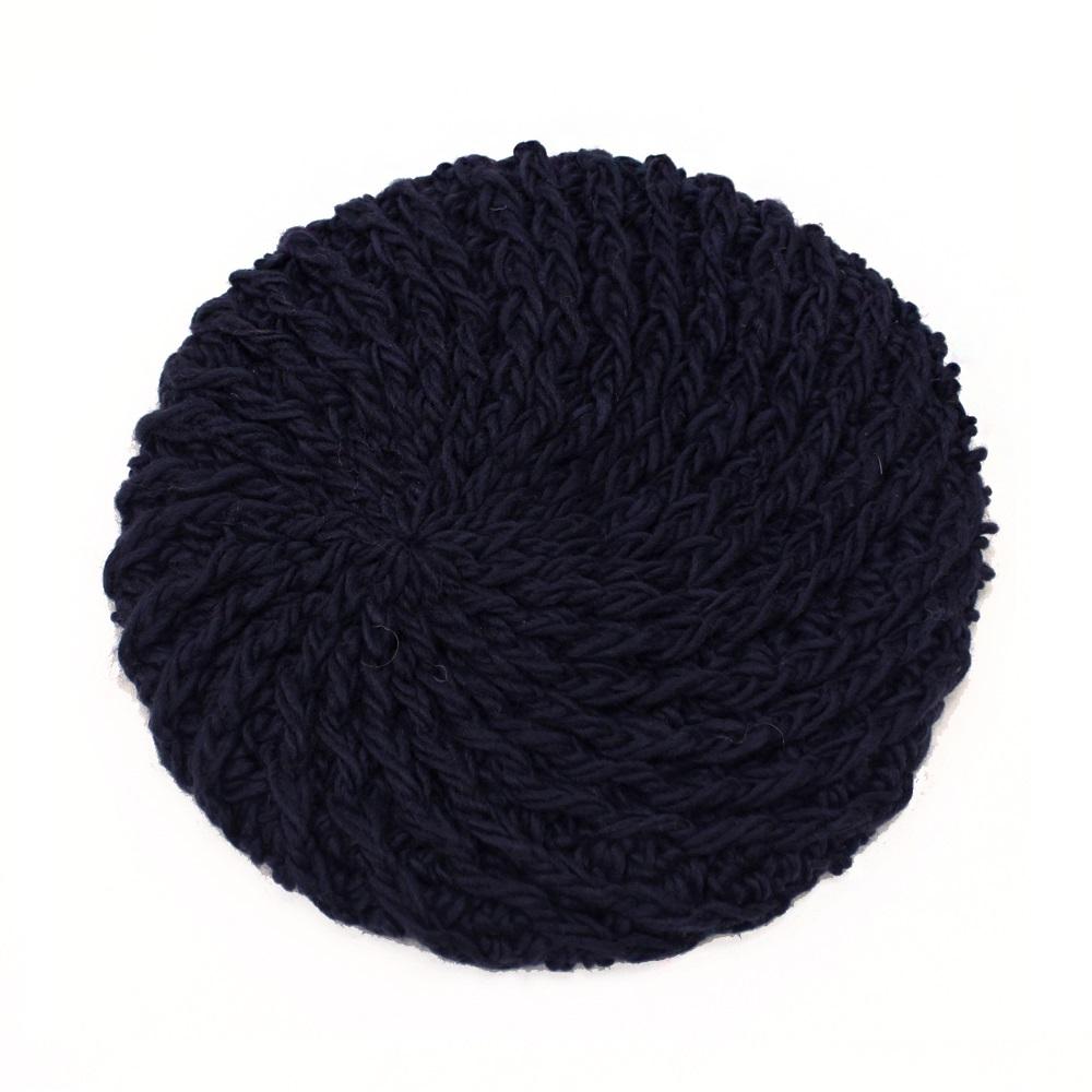 【U】AURORA - <日本進口>純色編織貝蕾帽(三色可選) - 深藍