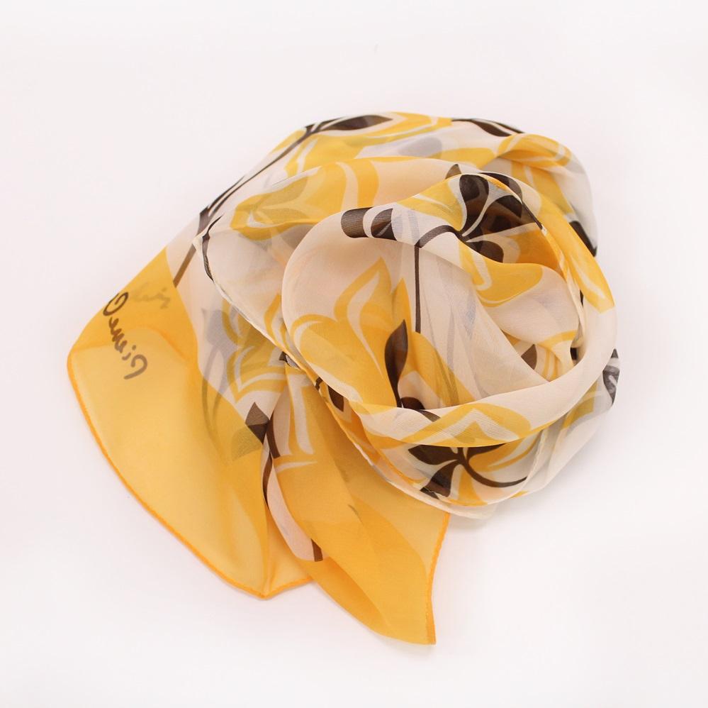【U】AURORA - <日本進口>淡雅花卉絲巾(二色可選) - 黃色