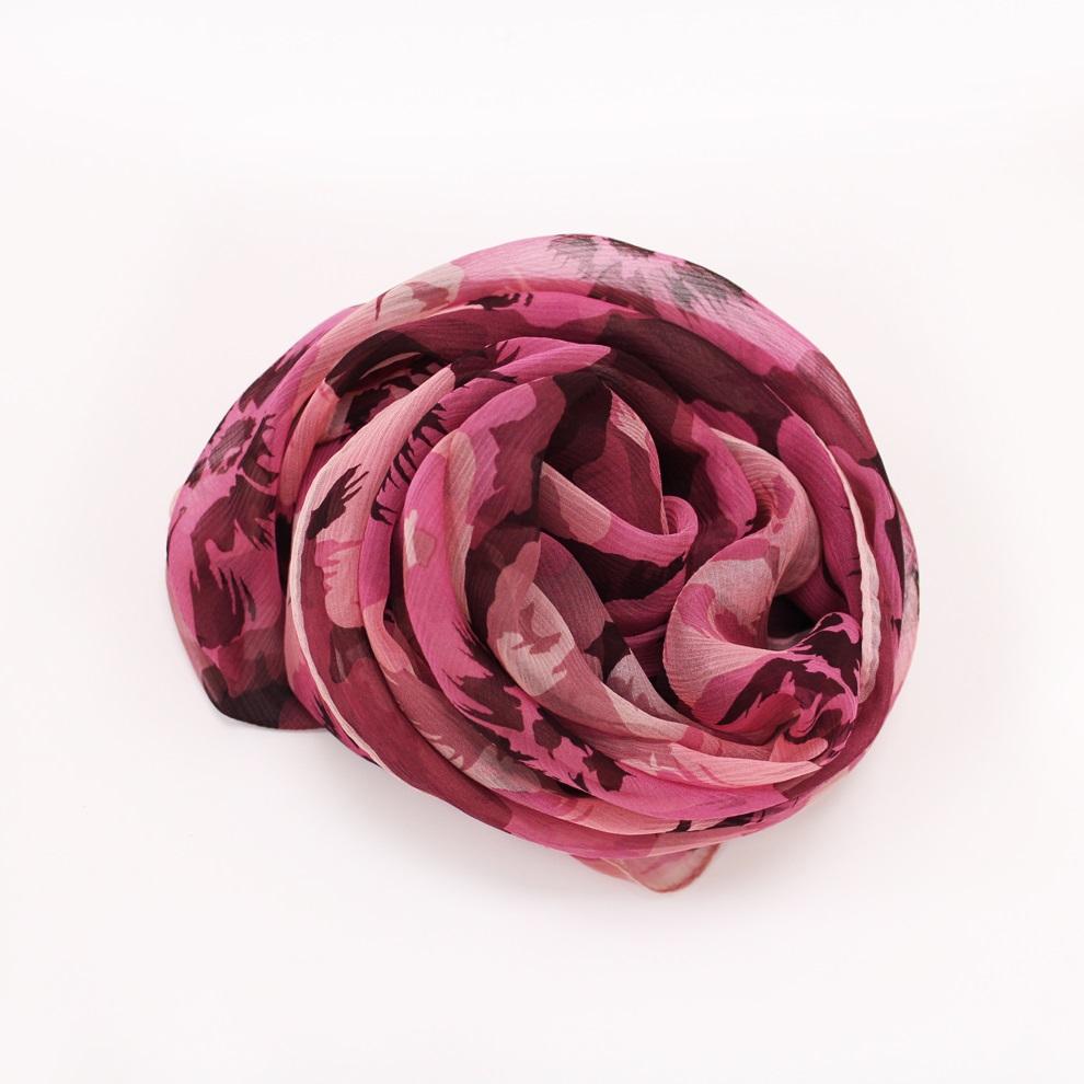 【U】AURORA - <日本進口>優雅花漾絲巾(二色可選) - 貴氣紫