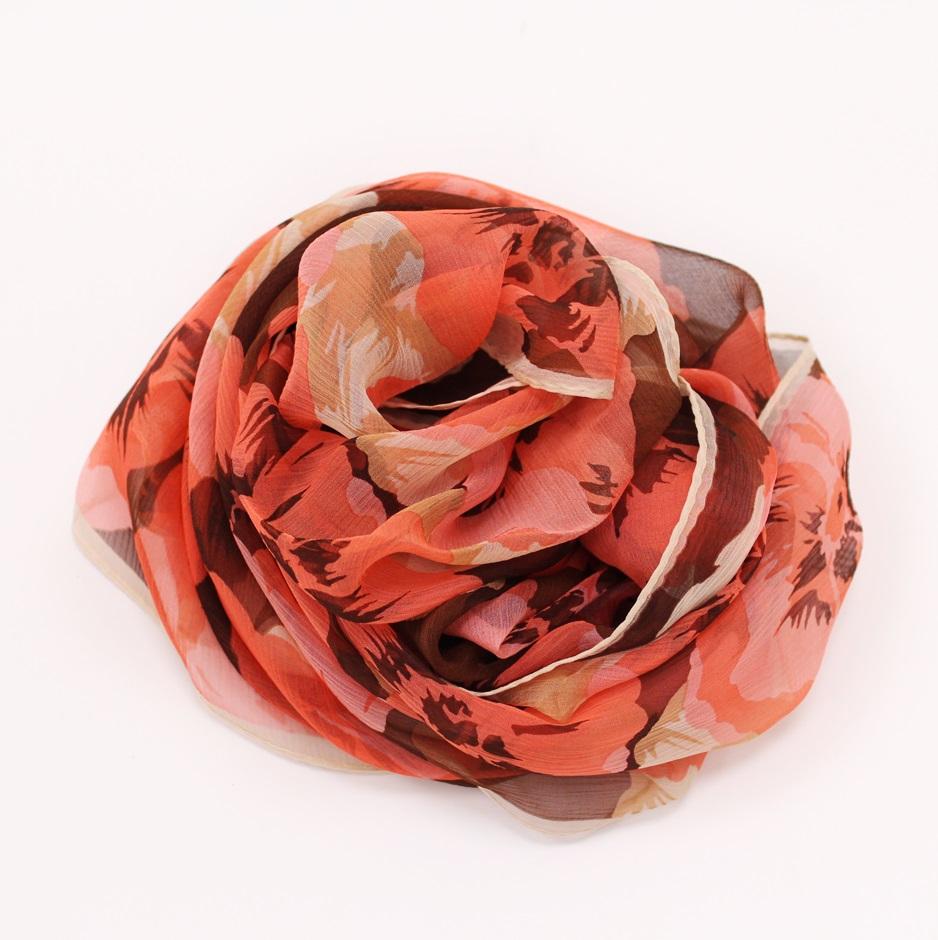 【U】AURORA - <日本進口>優雅花漾絲巾(二色可選) - 氣質橘