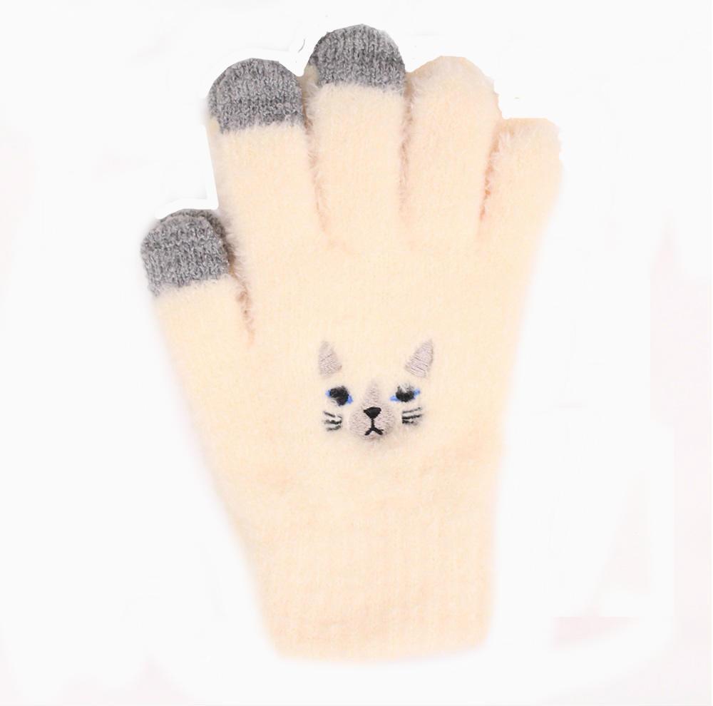 【U】MigoBear - 可愛貓咪觸控手套(三色可選) - 米白