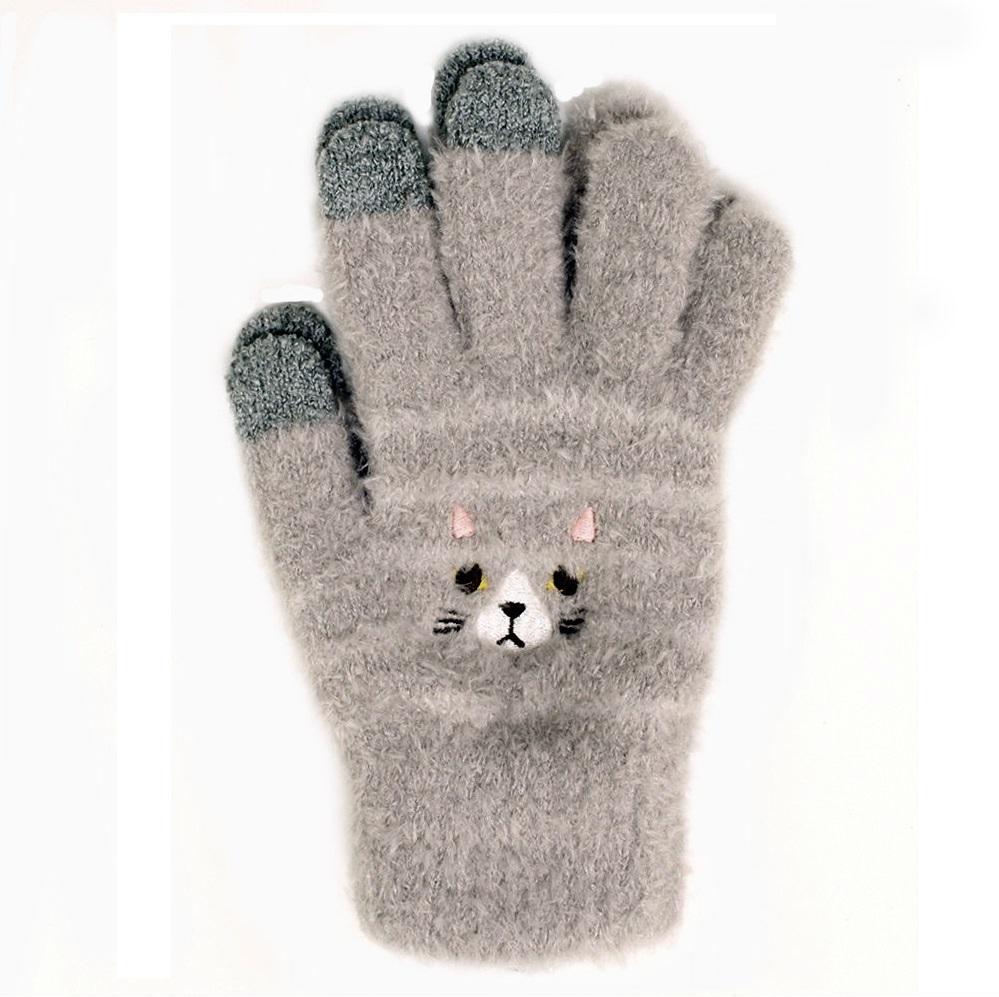 【U】MigoBear - 可愛貓咪觸控手套(三色可選) - 淺灰