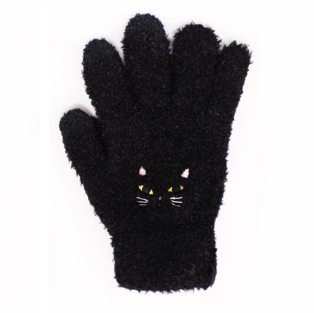 【U】MigoBear - 可愛貓咪觸控手套(三色可選) - 黑色