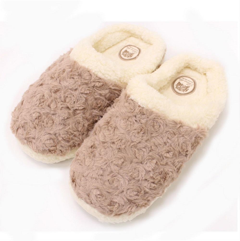 【U】MigoBear - 絨毛保暖家居鞋(四色可選) - 奶油咖啡