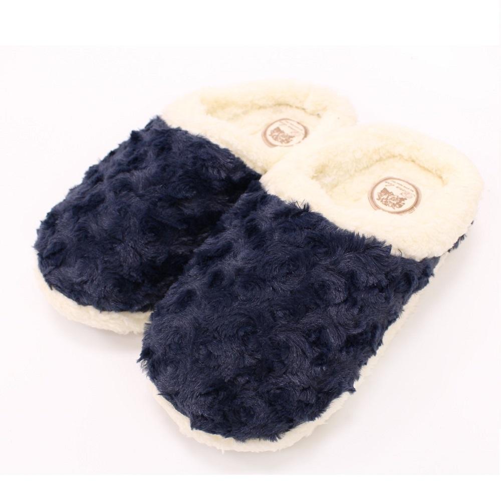 【U】MigoBear - 絨毛保暖家居鞋(四色可選) - 沉靜湛藍